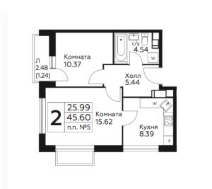 Планировка 2-комнатной квартиры в Южное Бунино